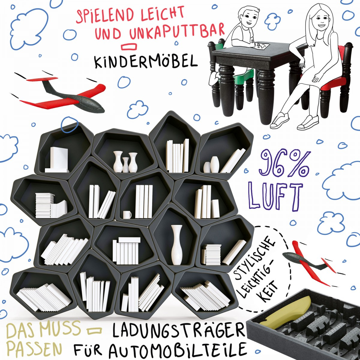 Illustration, in der einige Einsatzzwecke von Epp abgebildet sind: Ein Regal mit eine wabenähnlichen Struktur, Kindermöbel (Tisch und Stühle), Ein Wurfflugzeug.